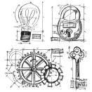 Tim Holtz Cling Rubber Stamp Set - Industrial Blueprint