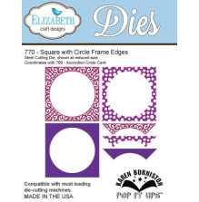 Elizabeth Craft Pop It Up Metal Dies By Karen Burniston - Square W/Circle Frame Edges
