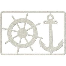 FabScraps Die-Cut Gray Chipboard Embellishments Wheel & Anchor, 3.75X5.5 Frame