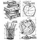 Tim Holtz Cling Rubber Stamp Set 7X8.5 - Schoolhouse Blueprint