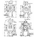 Tim Holtz Cling Rubber Stamp Set 7X8.5 - Robots Blueprint