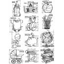 Tim Holtz Cling Rubber Stamp Set 7X8.5 - Mini Blueprints 8