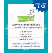 Lawn Fawn 3.5 Round Acrylic Block W/Grip & Grid