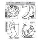 Tim Holtz Cling Rubber Stamp Set - Christmas Blueprints #2