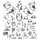 Tim Holtz Cling Rubber Stamp Set 7X8.5 - Mini Bird Crazy & Things