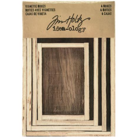 Tim Holtz Idea-Ology Wooden Vignette Boxes 4/Pkg - Brown