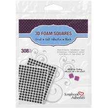 Scrapbook Adhesives 3L 3D Self-Adhesive Foam Squares 308/Pkg - Black Mini