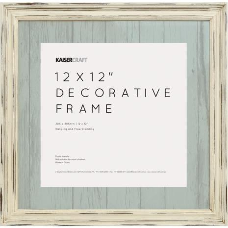 Kaisercraft Frame 12X12 - Antique White Distressed