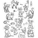 Tim Holtz Cling Rubber Stamp Set 7X8.5 - Mini Cats & Dogs