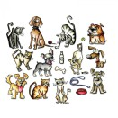 Tim Holtz Sizzix Thinlits Die Set 45/Pkg - Mini Crazy Cats & Dogs