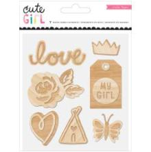 Crate Paper Wood Veneer Shapes 7/Pkg - Cute Girl