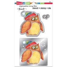 Stampendous Stencil, Die & Stamp Set 5.25X9 - Winter Owl