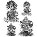 Tim Holtz Cling Rubber Stamp Set 7X8.5 - Day Of The Dead 1