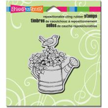 Stampendous Cling Stamp 4.75X4.5 - Watering Can Bird
