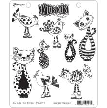 Dylusions Cling Stamp 8.5X7 - Cat Among Pigeons