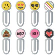 Simple Stories Carpe Diem Epoxy Top Metal Clips 8/Pkg - Emoji Love
