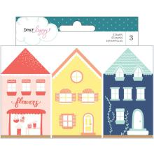 Dear Lizzy Wooden House Shaped Stamps 3/Pkg - Lovely Day   UTGÅENDE