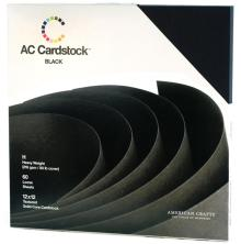 American Crafts Textured Cardstock Pack 12X12 60/Pkg - Black
