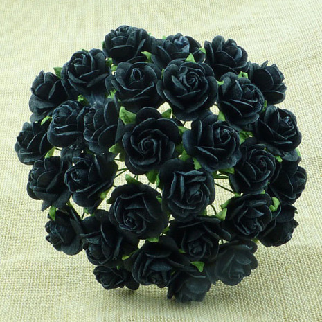 Mulberry Paper Open Roses 20mm 100/Pkg - Black