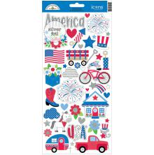 Doodlebug Yankee Doodle Cardstock Stickers 6X13 - Icons