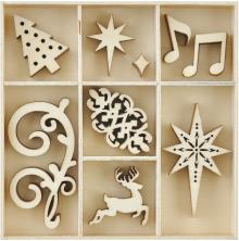 Kaisercraft Mini Wooden Flourishes 35/Pkg - Fancy Christmas