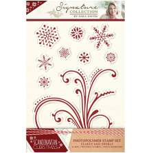 Sara Signature Collection Scandinavian Christmas A6 Clear Stamp - Flakes and Swirls