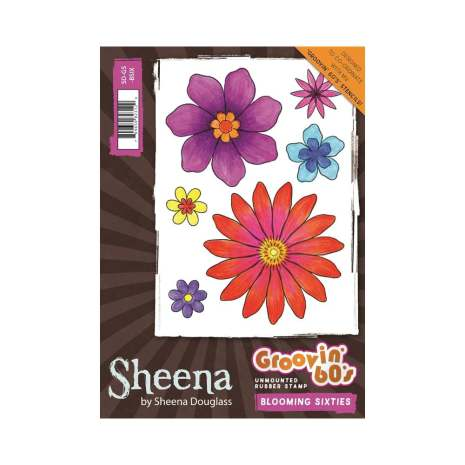 Sheena Douglass Groovin 60s A6 Unmounted Stamp - Blooming Sixties