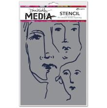 Dina Wakley Media Stencils 9X6 - Scribbled Faces