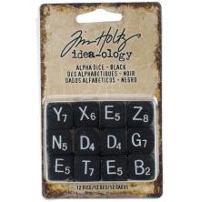 Tim Holtz Idea-Ology Alpha Dice 12/Pkg - Black W/White