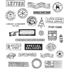 Tim Holtz Cling Stamps 7X8.5 - Holiday Postmarks