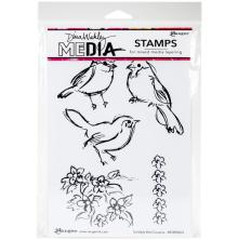 Dina Wakley Media Cling Stamps 6X9 - Scribbly Bird Cousins