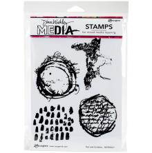 Dina Wakley Media Cling Stamps 6X9 - Text & Scribbles