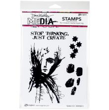 Dina Wakley Media Cling Stamps 6X9 - Splatter Girl
