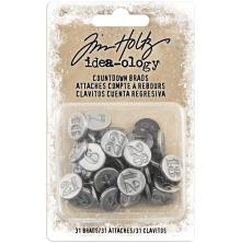 Tim Holtz Idea-Ology Metal Adornments 24/Pkg - Antique Nickel Numbers 1 Through 31
