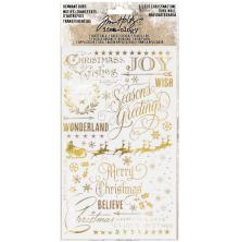 Tim Holtz Idea-Ology Remnant Rubs Rub-Ons 2/Pkg - Gilded Christmas