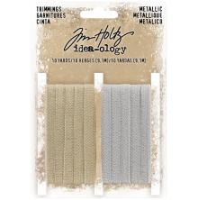 Tim Holtz Idea-Ology Metallic Trimmings 2/Pkg - Gold & Silver