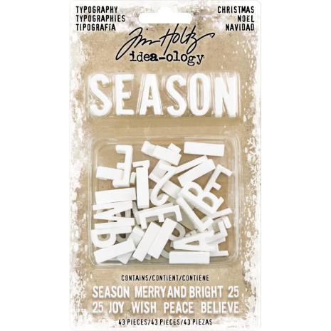 Tim Holtz Idea-Ology Typography Plastic Alphabet 43/Pkg - Christmas