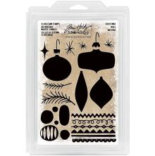 Tim Holtz Idea-Ology Cling Foam Stamps 24/Pkg - Christmas Ornaments