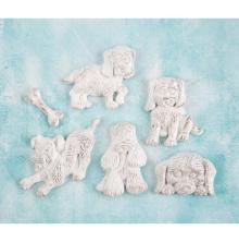Prima Shabby Chic Treasures Resin Embellishments 6/Pkg - Puppies