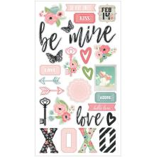 Simple Stories Chipboard Stickers 6X12 -  Romance