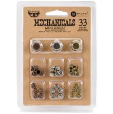 Prima Finnabair Mechanicals Metal Embellishments 33/Pkg - Mini Knobs