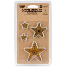 Prima Finnabair Mechanicals Metal Embellishments 5/Pkg - Barn Stars