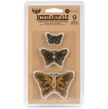 Prima Finnabair Mechanicals Metal Embellishments 9/Pkg - Grungy Butterflies