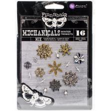 Prima Finnabair Mechanicals Metal Embellishments 16/Pkg - Winter Trinkets