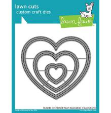 Lawn Fawn Custom Craft Die - Outside In Stitched Heart Stackables