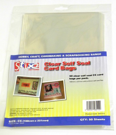 Stix2 Self Seal C5 Card Bags - Clear