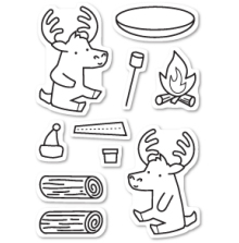 Memory Box Clear Stamp - Moose Buddies