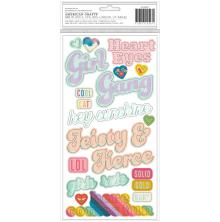 Pink Paislee Thickers Stickers 5.5X11 2/Pkg - Wild Child Girl Power Phrases
