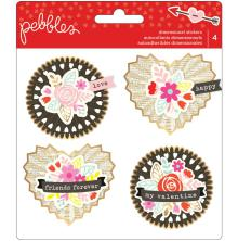 Pebbles Rosette Embellishments 4/Pkg -  Forever My Always