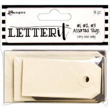 Ranger Letter It Tag Assortment 18/Pkg  - Ivory & Grey